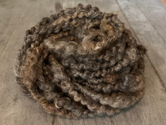 100% Hand-spun Border Leicester & Romney, plied with a gold nylon strand - Natural Colored, American sourced and ethically harvested