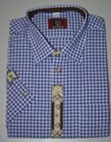 SHORT Sleeve Blue Check w/design (SH-234SSB)