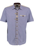 SHORT Sleeve Blue Checkered Shirt 2-tone w/design (SH-246BSS)