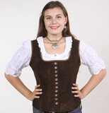 Ladies Leather Vest -Button (LV001)