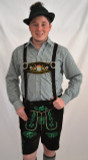 Black Cow Lederhosen (LEDBLK3-300EBWGREEN) with Bavaria suspenders