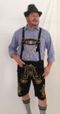 Black Cow Lederhosen (LEDBLK3-300EBWGOLD) with Bavaria suspenders Gold Embroidery