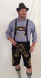 Black Cow Lederhosen (LEDBLK3-300EBWGOLD) with Bavaria suspenders Gold Embroidery