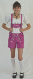 Ladies Leather Lederhosen - Pink