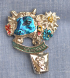 HP8242 Blue Cow  Hat Pin BERCHTESGADEN
