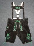 Black Cow Lederhosen (LEDBTBLK-GRN) with deer suspenders