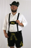 Black Cow Lederhosen (LEDBTBLK-GOLD) with deer suspenders REINER