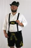 Black Cow Lederhosen (LEDBTBLK-GOLD) with deer suspenders REINER