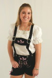Ladies Leather Lederhosen Black w/Pink Embroidery Clearance