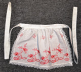 Girls White Apron with Red Embroidery