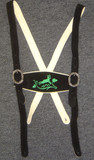Black Suspenders Green Deer Embroidery - SPECIAL