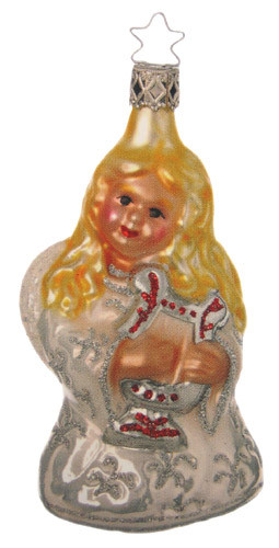 Angel White Harp Glass Ornament