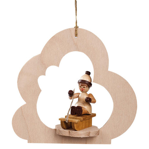 Child Sitting Sled Wood German Ornament ORR134X94