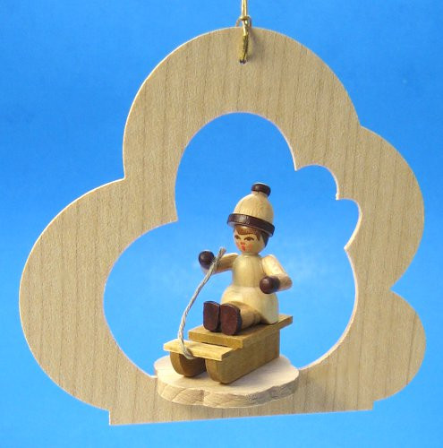 Child Sitting Sled Wood Ornament