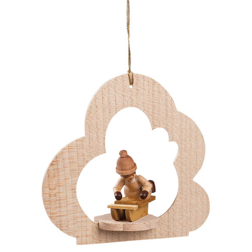 Child Sled Wood German Ornament ORR134X95