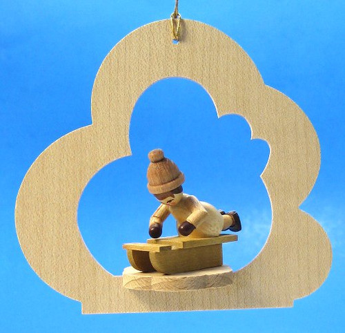 Child Sled Wood Ornament