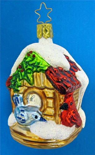 Holiday Bird House Glass Christmas Ornament