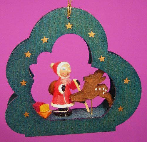 Cloud Santa Reindeer Ornament