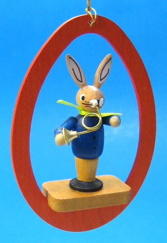 Colorful Egg Rabbit French Horn Ornament