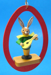 Colorful Egg Rabbit Mandolin Ornament