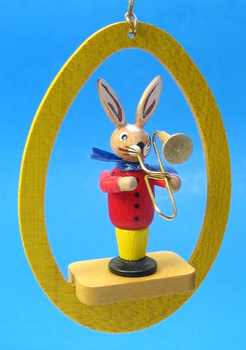 Colorful Egg Rabbit Trombone Ornament
