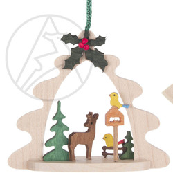 Deer Bird feeder Tree Frame German Ornament