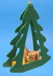 Deer Green Tree Frame Ornament