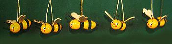 Five Bees Ornaments