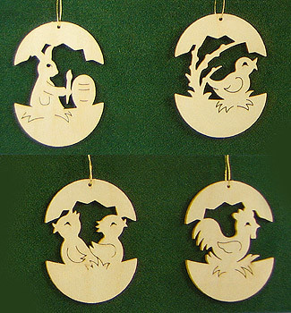 Four Baby Animals Egg Frame Ornament