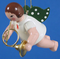 French Horn Angel Christmas German Ornament