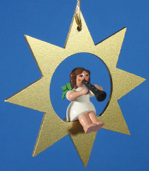 Gold Star Angel Clarinet Christmas Ornament