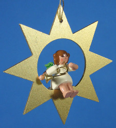 Gold Star Angel Horn Christmas Ornament