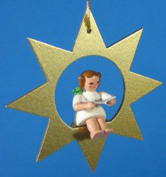Gold Star Angel Singing Christmas Ornament