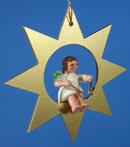 Gold Star Angel Triangle Christmas Ornament