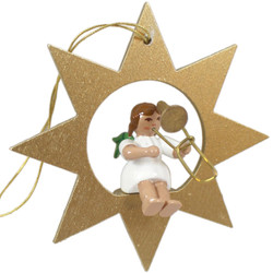 Gold Star Angel Trombone Christmas German Ornament ORR013X31TB