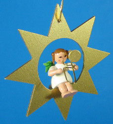 Gold Star Angel Trombone Christmas Ornament