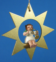 Gold Star Angel Trumpet Christmas Ornament