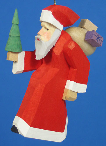Hand Carved Santa Ornament