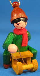 Holiday Sports Children Ornament Sitting on Sled