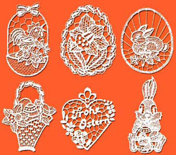 Lace Easter Ornaments Set 1014