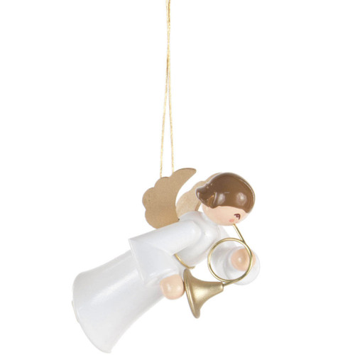 Ornament Angel White Gown French Horn