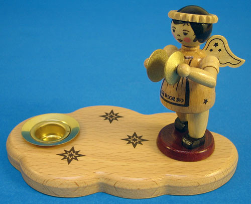 Candleholder Natural Wooden Angel Cymbals Christmas