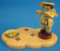 Candleholder Natural Wooden Angel Trombone Christmas