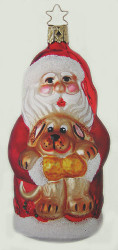 Santa Puppy Ornament