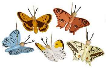 Set Five Colorful Butterfly Ornaments