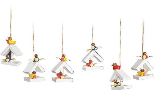 Set of Six Bird House Ornaments