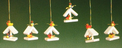 Set of Six Bird House Ornaments