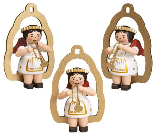 Set Three Musical Angel Horn Christmas Ornament
