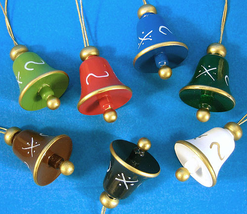 Seven 7 Wood Hand Painted Bell Ornaments