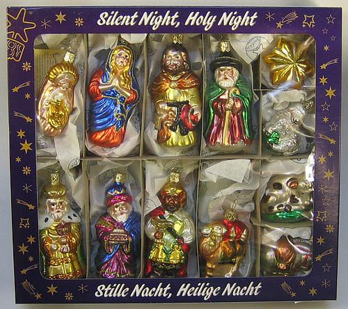 Silent Night Premium Glass Christmas Ornament Set